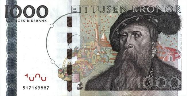 1000 крон с изображением короля Густава Васы