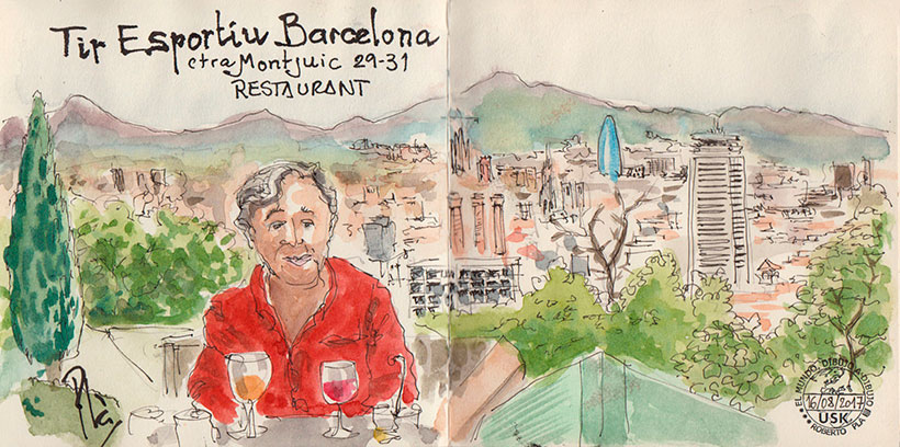 Вид на Барселону из ресторана. Набросок